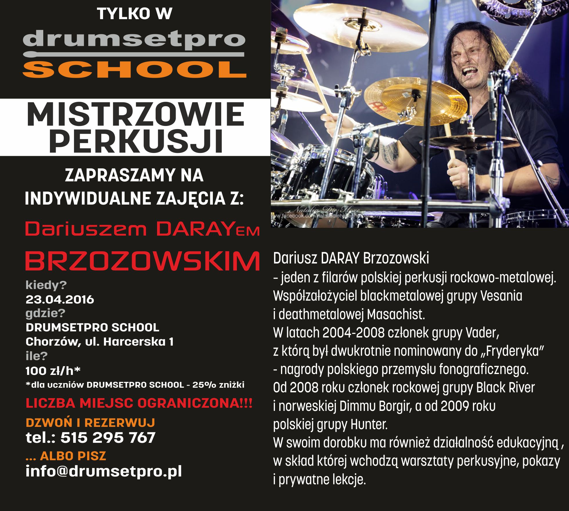 Individual drumming lessons with Daray in Drumsetpro School