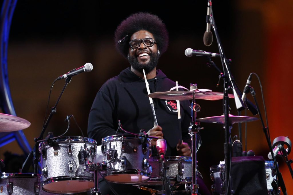 "The Roots' Ahmir ""Questlove"" Thompson performs during an Independence Day celebration, Friday, July 4, 2014, in Philadelphia. (AP Photo/Matt Rourke)"