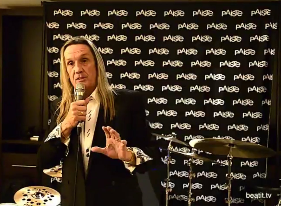 Nicko McBrain during Paiste Press Conference, NAMM Show 2017