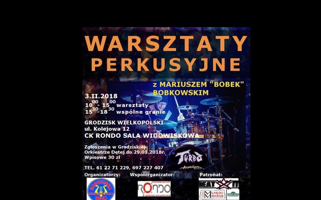 """Warsztaty perkusyjne z Mariuszem """"Bobkiem"""" Bobkowskim"""