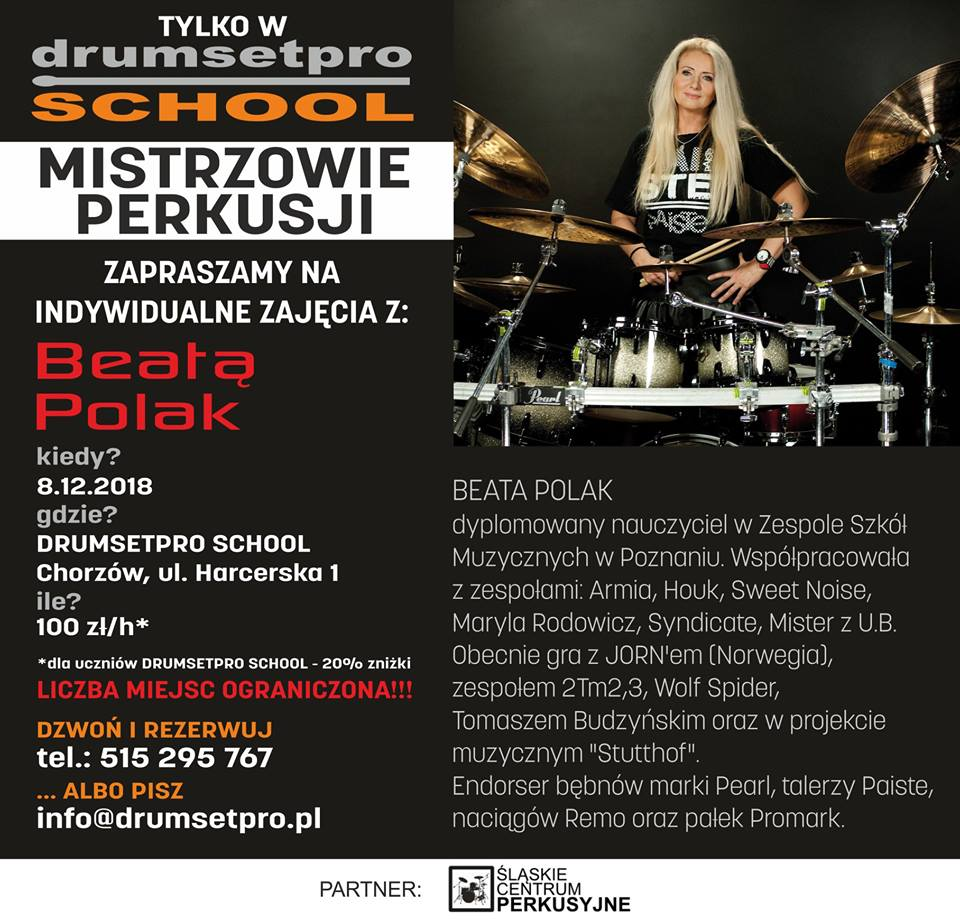Beata Polak w Drumsetpro School